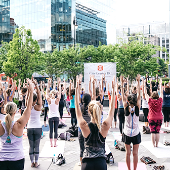 Yoga in the CityCenterDC Parl