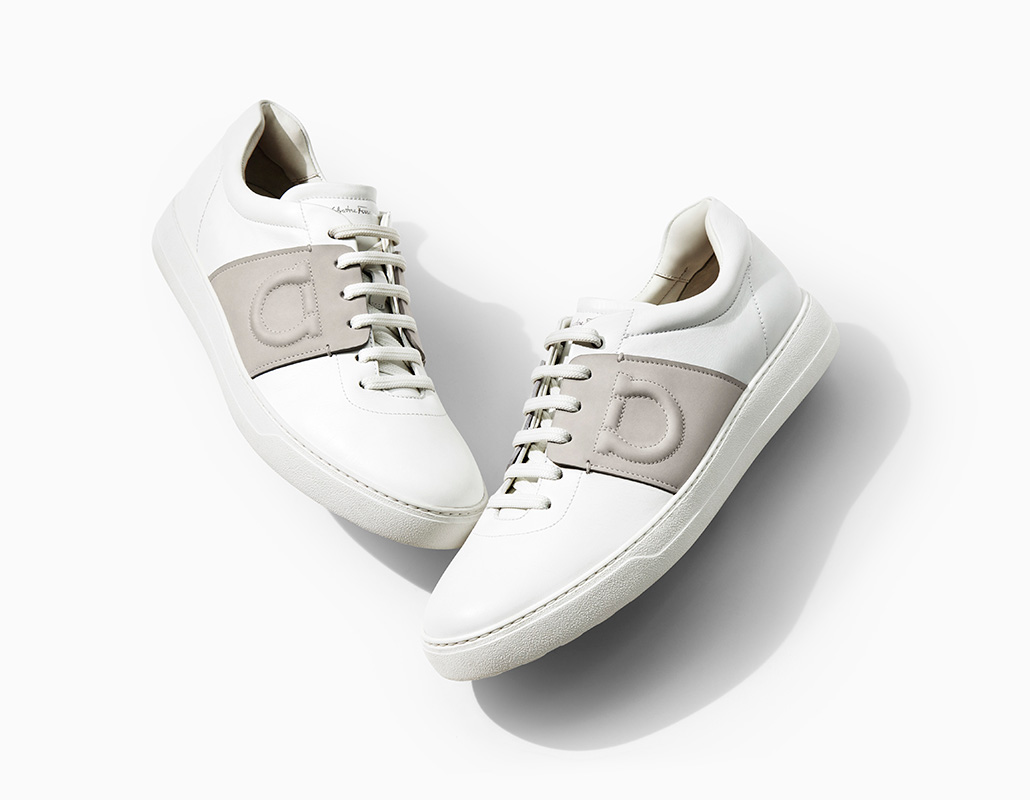 Salvatore Ferragamo's calfskin saddle sneakers