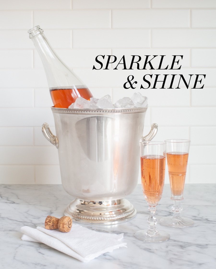 Champagne on ice in a silver plated Christofle ice bucket.