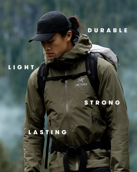 Durable, Light, Strong, Lasting: an eco-conscious rain jacket by Arc'Teryx