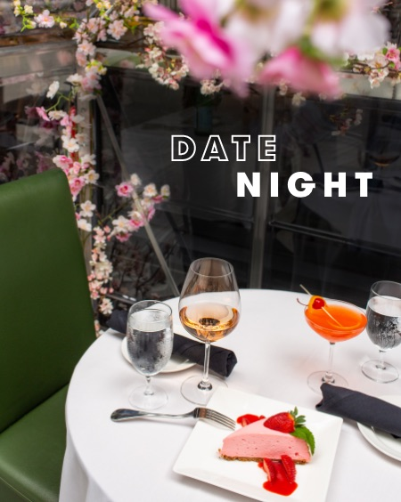 Date Night: cake and cocktails on a restaurant table at CityCenterDC